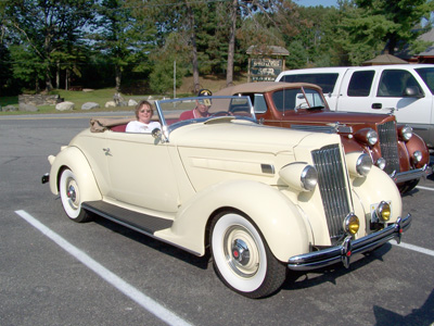 "Barbara, Richard and ""Gatsby"" (1936 Packard Model 999 One Twenty convertible)"
