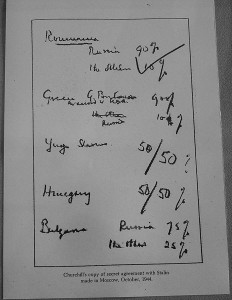 "The 1944 ""Percentages Agreement,"" with Stalin's big blue tick at upper left corner. (Churchill Archives Centre Cambridge)"
