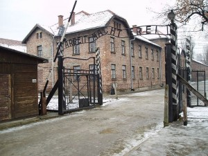 "The Gates of Auschwitz, with the slogan ""Arbeit Macht Frei."" (Wikimedia Commons)"