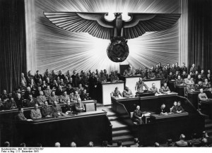 Hitler addressing the Reichstag, 1941. (Wikimedia Commons)