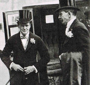 """Churchill, arriving at his wedding in 1908, was described as having  """"a glorified coachman appearance."""""""