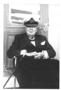 """Churchill aboard """"Christina,"""" 1959."""