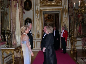 Duchess and Duke receiving Marcus and Molly Frost, Churchill Tour XIII, 2006. At right, Paul Duffie.