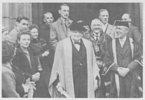 "Ron Golding (behind WSC sporting his ""outsize air force moustache"") with Churchill to receive the Freedom of Edinburgh, 27 April 1946."