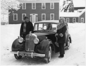"Richard and Barbara Langworth with their 1951 Renown, ""Miss Ruffle"" (name of the original and previous owner in Bristol, England), New Hampshire, 1978. The Langworths have owned ten Triumphs from a 1938 Dolomite to a 1977 TR4A."