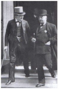 First Lord of the Admiralty Winston Churchill with Admiral Jackie Fisher, who served as his First Sea Lord in 1914-15.