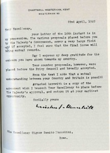 "The most flagrant fake, from ""Chartwell"" (but not the Chartwell letterhead), with two misspellings and the title ""Duce of Fascism,"" which Churchill would have choked on. The pasted signature isn't even level."