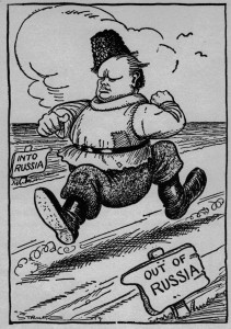 """""""We don't know where we're going but we're on our way."""" Churchill was urging demolition of """"the foul baboonery of Bolshevism""""—or was he? Strube in the Daily Express, 8 September 1919."""