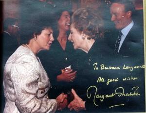 Barbara Langworth with Lady Thatcher, Washington, 1993.