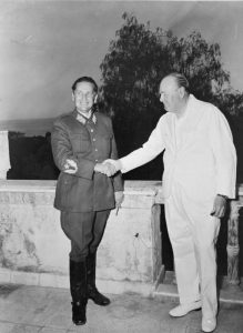 Tito meets Churchill, Naples, 1944. (Wikimedia Commons)